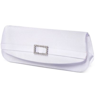 White Satin Crystal Buckle Evening Bag