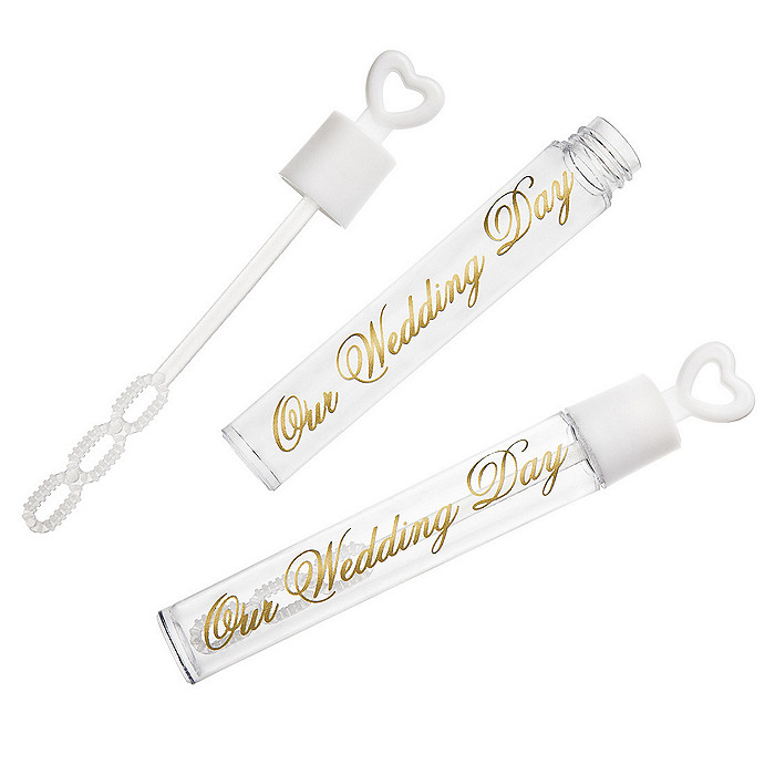Our Wedding Day Bubble Tubes - White/Gold