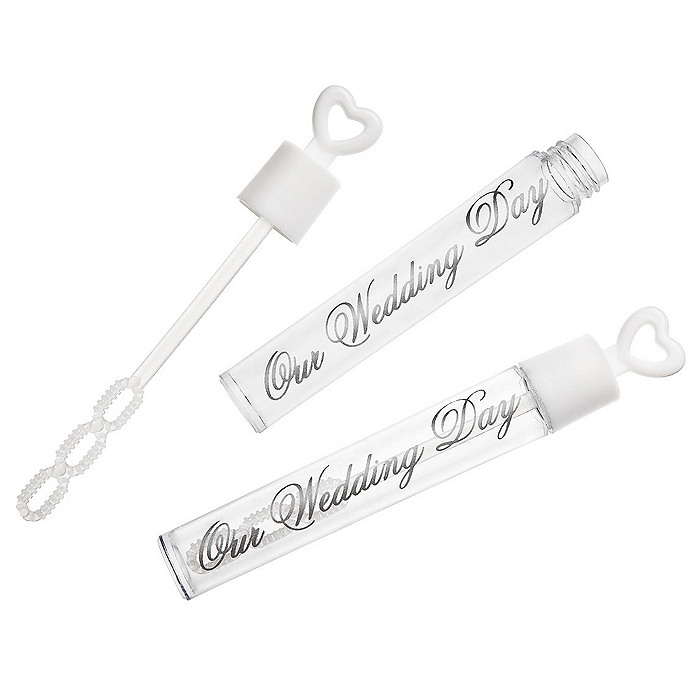 Our Wedding Day Bubble Tubes - White/Silver