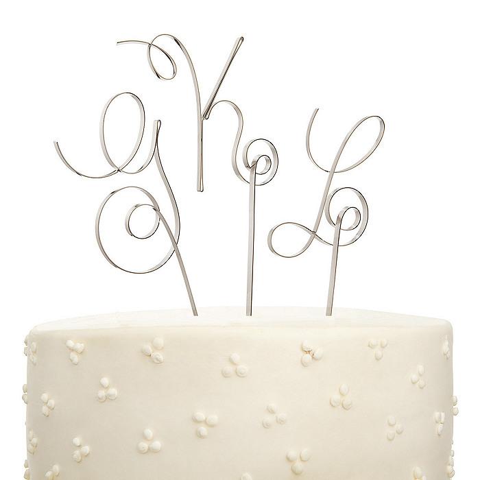 Scroll Initial Cake Topper
