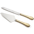 Gold Parisian Romance Cake Knife & Server Set
