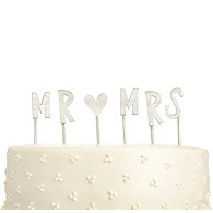 Mr. & Mrs. Pewter Cake Topper
