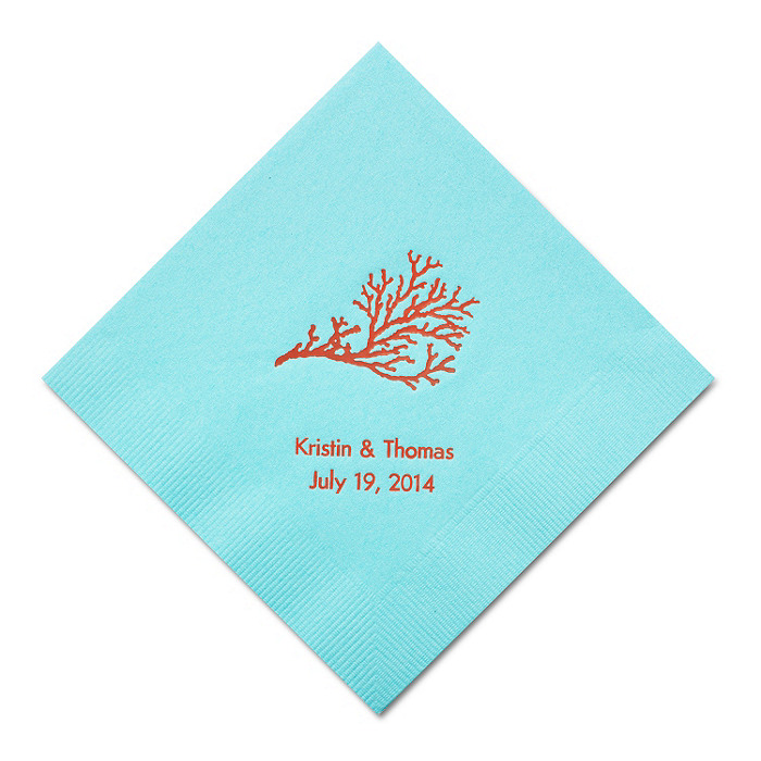 Personalized Napkins - BEVERAGE (Coral)