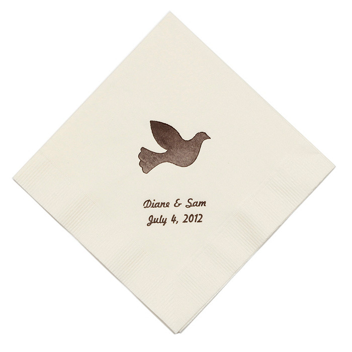 Personalized Napkins - BEVERAGE (Dove)