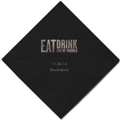 Personalized Napkins - BEVERAGE (Eat, Drink... Block)