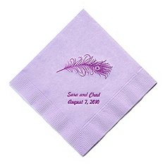 Personalized Napkins - BEVERAGE (Peacock Feather)