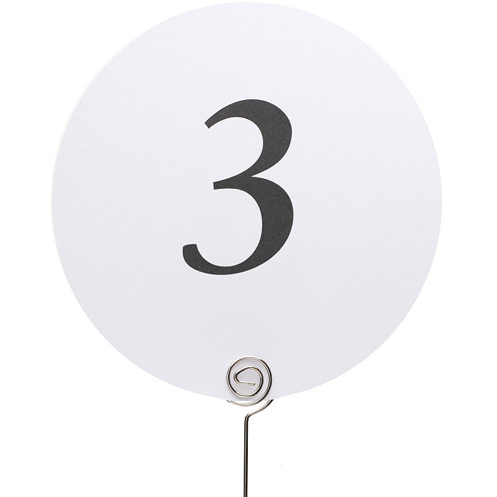 Round Table Number Cards