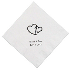 Personalized Napkins - LUNCHEON (Double Hearts - Interlocking)