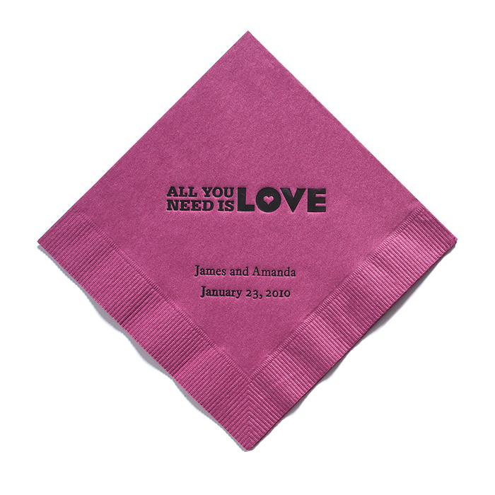 Personalized Napkins - DINNER (All You Need Is Love)