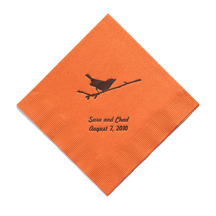 Personalized Napkins - DINNER (Bird on Branch)