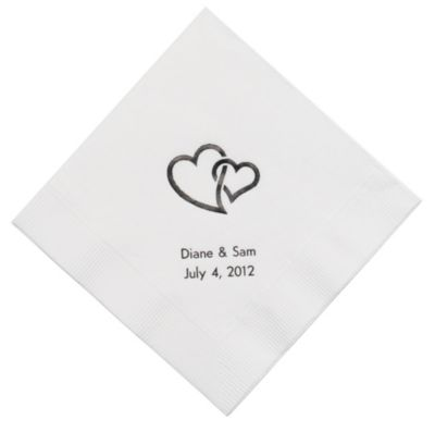 Personalized Napkins - DINNER (Double Hearts - Interlocking)