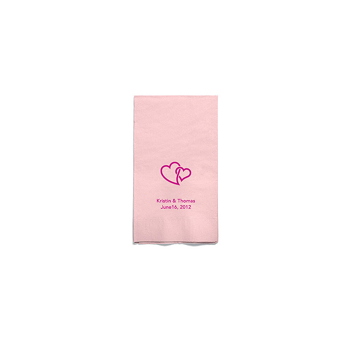 Personalized Napkins - GUEST TOWEL (Double Hearts - Interlocking)