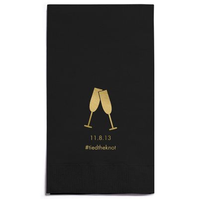 Personalized Napkins - GUEST TOWEL (Toasting Flutes)