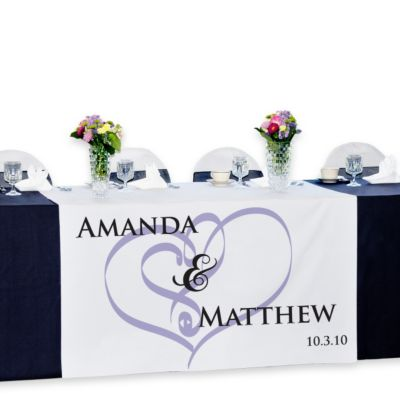 Personalized Reception Table Banner - Embracing Hearts