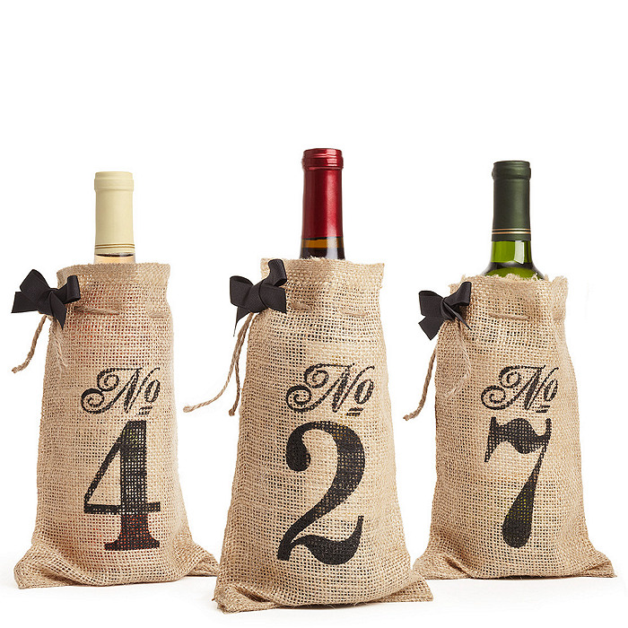 Burlap Table Number Wine Bag