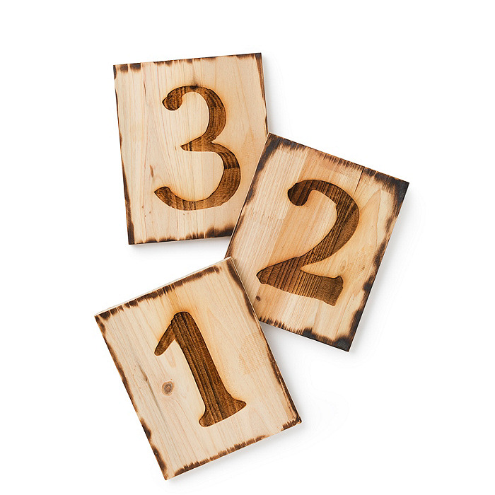 Wooden Table Numbers ~ Square wooden table numbers