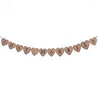 Just Married Heart Wooden Banner