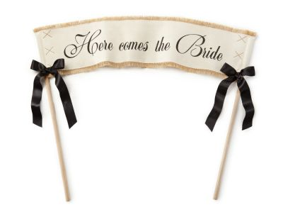 Here Comes the Bride Jute Banner