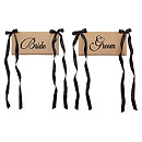 Bride & Groom Jute Chair Sash Set