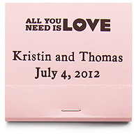 Personalized Matchbooks - All You Need is LOVE
