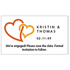 Save the Date Magnets - Double Heart (Orange)