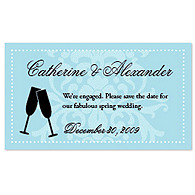 Save the Date Magnets - Toasting Flutes (Blue)