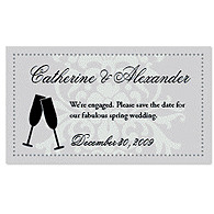 Save the Date Magnets - Toasting Flutes (Silver)