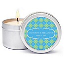 Personalized Soy Candle Favors - Argyle (Blue)