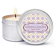 Personalized Soy Candle Favors - Argyle (Lavender)