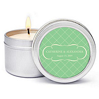 Personalized Soy Candle Favors - Argyle (Mint)