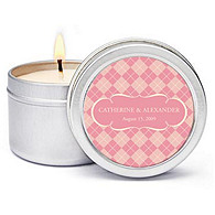 Personalized Soy Candle Favors - Argyle (Pink)
