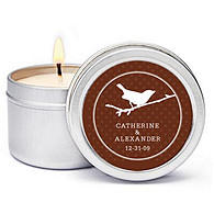 Personalized Soy Candle Favors - Bird (Branch)