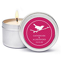 Personalized Soy Candle Favors - Bird (Punch)
