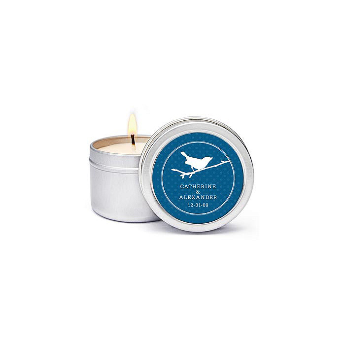 Personalized Soy Candle Favors - Bird (Navy)