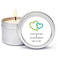 Personalized Soy Candle Favors - Double Heart (Green)
