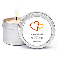 Personalized Soy Candle Favors - Double Heart (Orange)