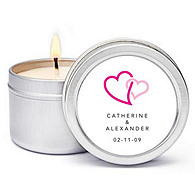 Personalized Soy Candle Favors - Double Heart (Pink)