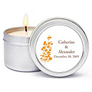 Personalized Soy Candle Favors - Foliage (Orange)