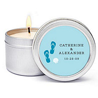 Personalized Soy Candle Favors - Flip-Flops (Blue)