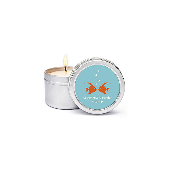 Personalized Soy Candle Favors - Kissing Fish