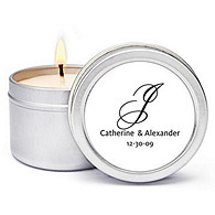 Personalized Soy Candle Favors - Initial (Black)