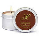 Personalized Soy Candle Favors - Initial (Green/Brown)