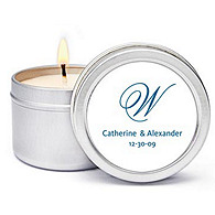 Personalized Soy Candle Favors - Initial (Blue)