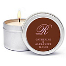 Personalized Soy Candle Favors - Initial (Pink/Brown)