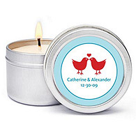 Personalized Soy Candle Favors - Lovebirds
