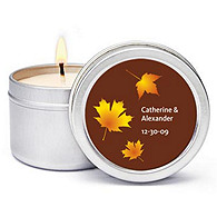 Personalized Soy Candle Favors - Fall Leaves