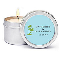 Personalized Soy Candle Favors - Palm Trees (Blue)
