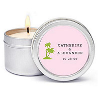 Personalized Soy Candle Favors - Palm Trees (Pink)