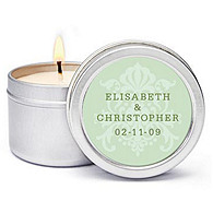 Personalized Soy Candle Favors - Regal (Mint)