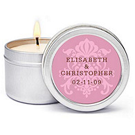 Personalized Soy Candle Favors - Regal (Pink)